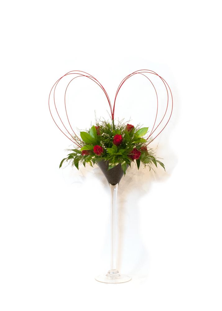 Tall Martini Vase Arrangement Heart Christchurch Florist
